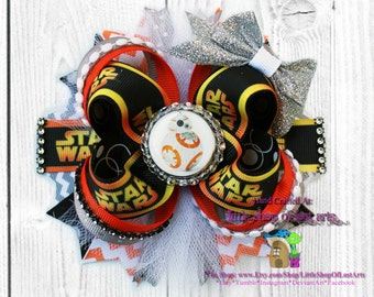 Bb8 Star Wars inspired assembled ready to ship large stacked boutique bow