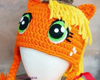 My Little Pony inspired Apple Jack ready to be shipped thick winter hat