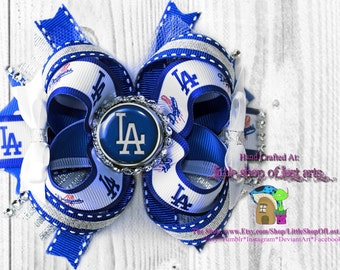 Inspired by LA Dodgers large stacked deluxe boutique bow assembled and ready to ship dodgers hairbow