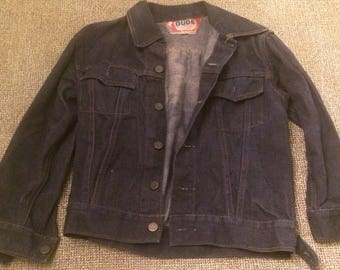 Dude Western Denim Jacket, classic style, early 1970s, size x small