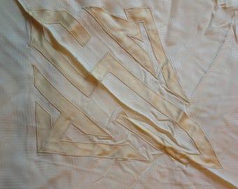 Cream silk bedspread, monogrammed, vintage 1920s, Twin bed