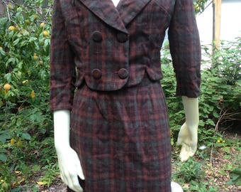 purple and green tweed wool suit - size small - vintage 1930s or 1940s