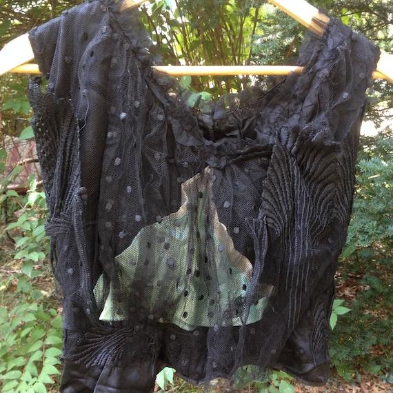 antique Victorian ladies black blouse - size small