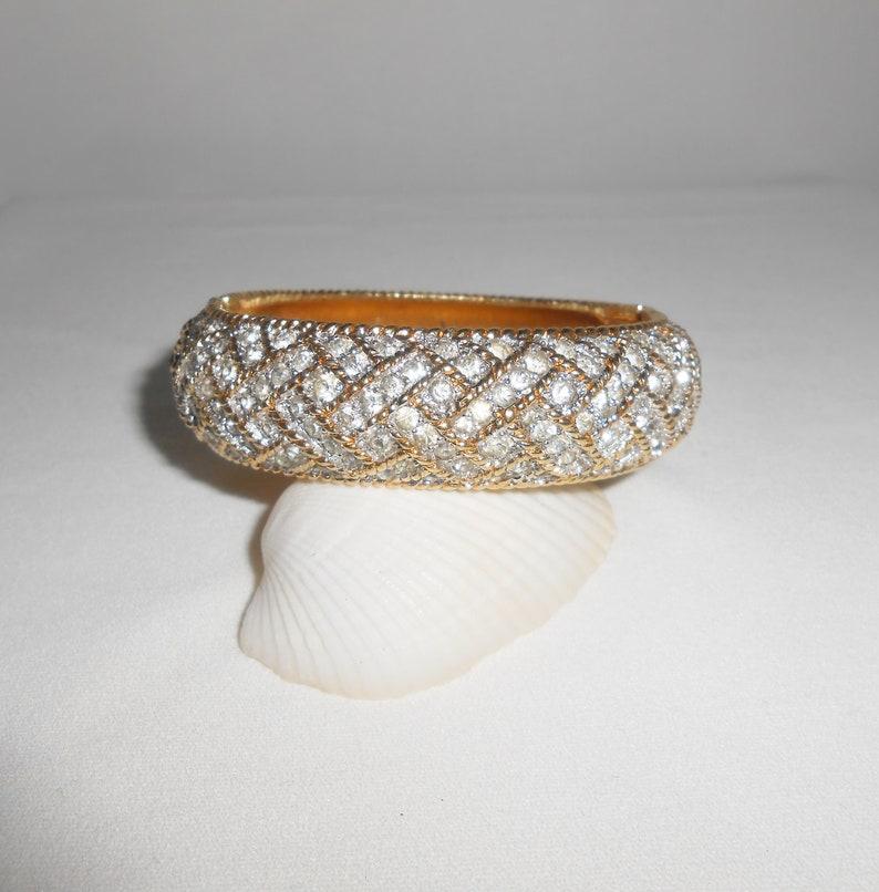 07454c1dd2f Joseph Mazer Rhinestone Bracelet Hinged Bracelet Bangle | Etsy