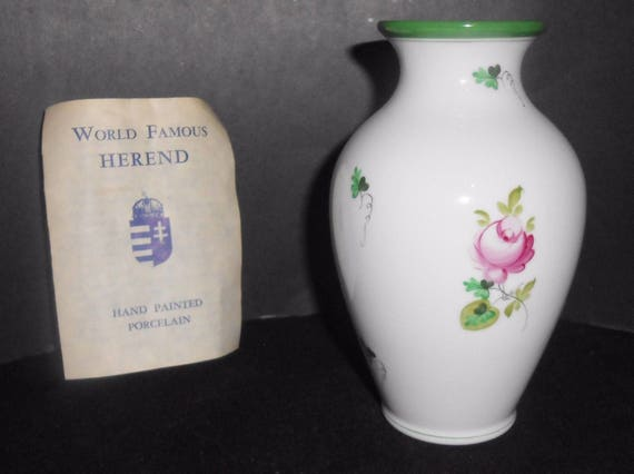 Herend Vase Hungary 5 12 Vintage Floral Flowers Leaves Etsy