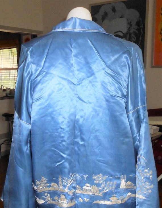 Chinese Embroidered Silk Lounging Beach Pajamas, … - image 8