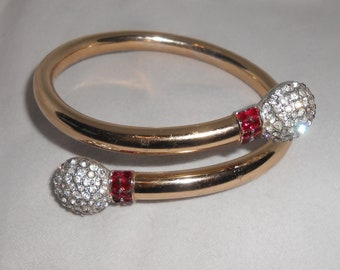 Rhinestone Arm Cuff Bracelet Bypass Jewelry Ruby Red and Clear Rhinestones 1980's Glam