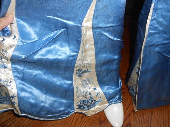Chinese Embroidered Silk Lounging Beach Pajamas, … - image 4