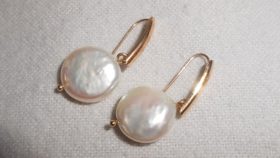 Coin Pearl Earrings,  Coin Pearls,  14K Gold Pearl