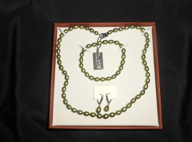 Honora Pearl Necklace Honora Earrings Gift Set For Women Honora Pearls Gifts for Her Honora Pearl Bracelet Green Pearls