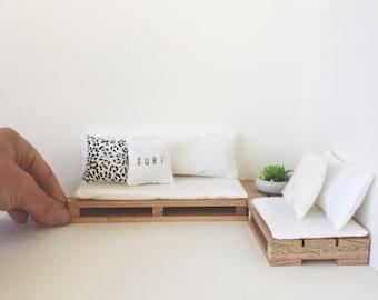 Dollhouse Miniature Pallet Couch