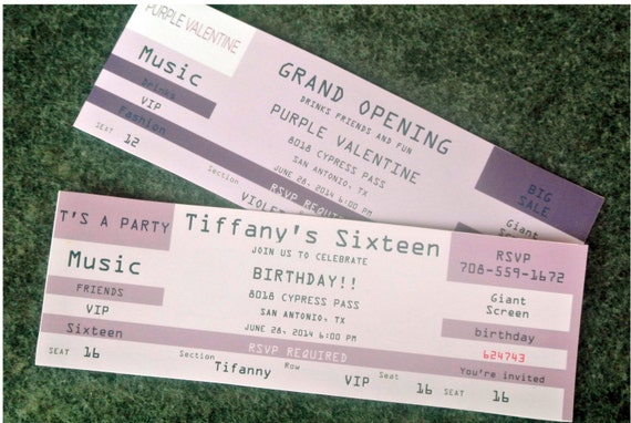 print your own ticket event concert invitation purple etsy