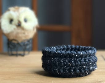 Mini Crochet Basket - Coin Holder - Jewelry Dish - Hair Clip Holder - Gifts Under 10 - Small Basket - Rustic Decor - Bedside Caddy - For Her