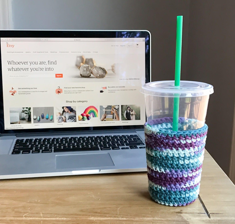 Iced Coffee Sleeve - Crochet Coffee Cup Sleeve - Frozen Coffee Sleeve -  Teacher Gifts - Reusable Coffee Sleeve - Cold Coffee Sleeve