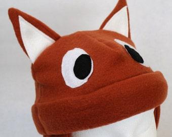 Baby and Kids Fox Fleece Hat, Kids Fox Hat, Toddler Fox Hat, Kids Fox Gift, Kids Animal Hat, Baby Animal Hat