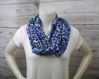 Blue and Purple Cheetah Print Infinity Scarf, Cheetah Loop Scarf, Cheetah Print Accessory, Blue Cheetah Accessory, Blue Purple Cheetah Scarf