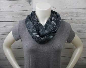 Gray and Black Knit Infinity Scarf