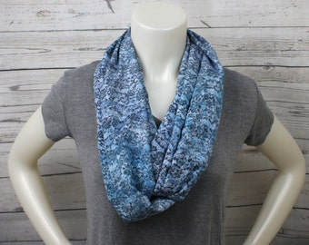 Blue and Gray Lightweight Infinity Scarf