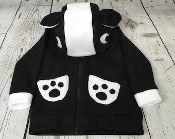 Fleece Skunk Toddler Sweatshirt, Hooded Skunk Sweatshirt, Toddler Skunk Hoodie, Fun Toddler Clothing, Animal Toddler Hoodie, Skunk Hoodie