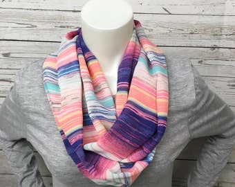 Summer Striped Infinity Scarf, Striped Loop Scarf, Lightweight Polyester Scarf, Pink and Purple Infinity Scarf, Pretty Striped Scarf