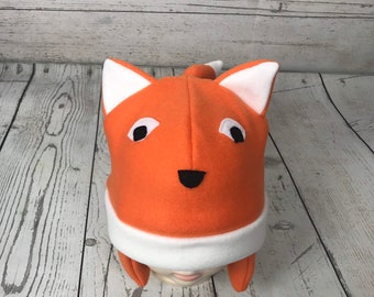 7e836d23158cf Baby and Kids Orange Fox Fleece Hat