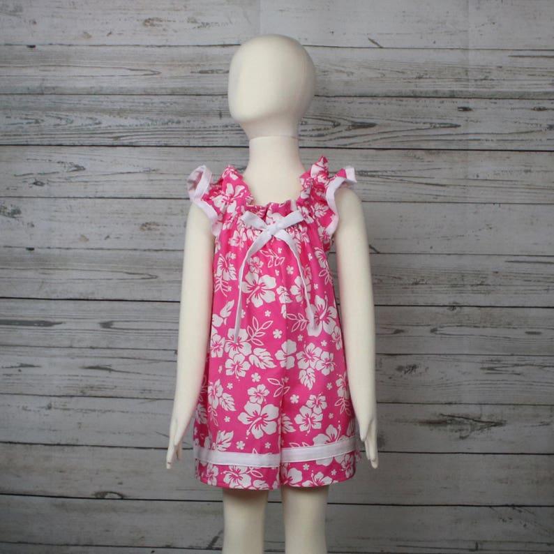 d6c06b41b79c 4T Pink Hibiscus Cotton Romper 4T Tropical Summer Romper