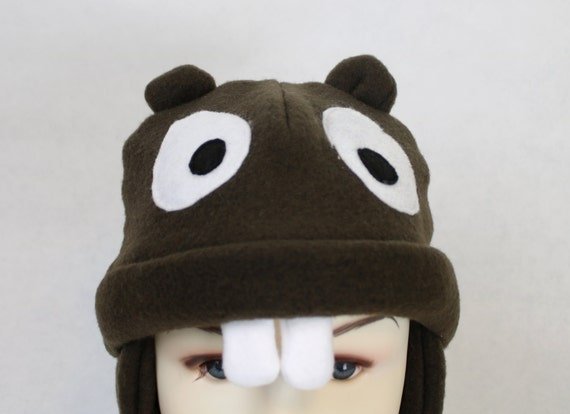 Adult Beaver Fleece Hat Beaver Winter Hat Womans Beaver Hat  9317b0383be