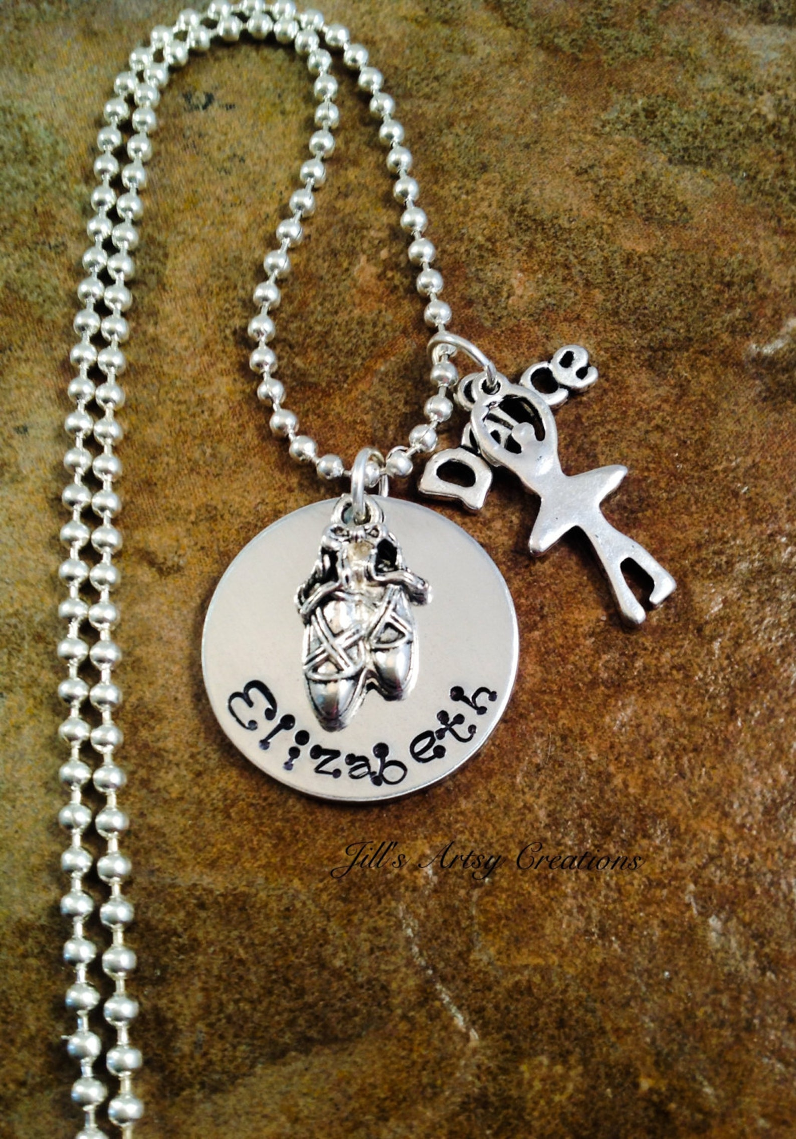 personalized ballet necklace, gift for daughter, granddaughter necklace, ballerina dancer necklace, aluminum jewelry