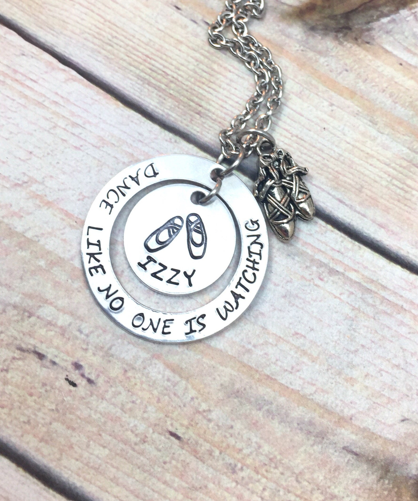 dance necklace, dance like no one is watching, ballet slippers necklace, gift for her