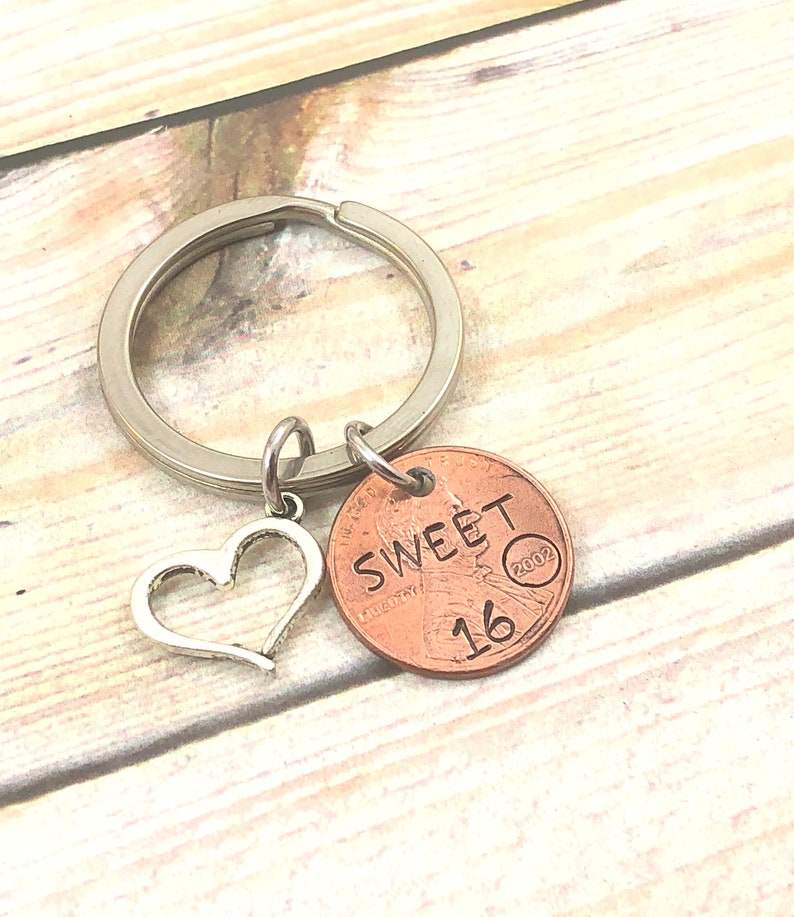 Sweet 16 keychain l Penny Keychain l Daughter gift l Granddaughter gift