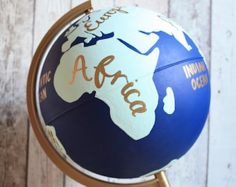"""Hand Painted Globe with Continents 