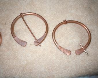 Large simple Copper penannular brooch Handmade Celtic, Irish, Scottish Kilt pin