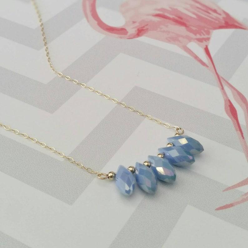 Gold filled necklace Teardrops necklace Blue teardrops necklace Row of crystals necklace Blue stones necklace Blue crystals necklace