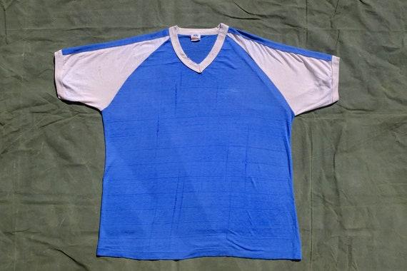 70s 80s NIKE faded threadbare baseball vneck tshir
