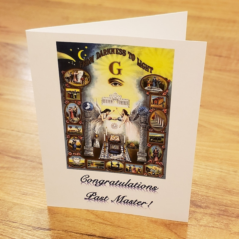 Masons Congratulations Past Worshipful Master Greeting Card Vintage From  Darkness to Light Freemasonry