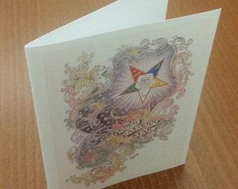 OES Vintage Swirls Blank Note Cards 10 pack Eastern Star
