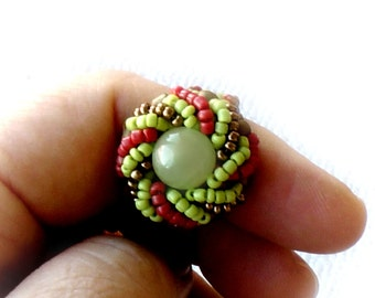 Green Onyx Ring, Seed Beads Ring, Bead Weaved Ring, Statement Ring, Spiral Weaved Ring