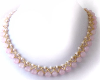 Crystal Necklace, Crystal Weaved Necklace, Beadweaved Necklace, Rose Necklace, Beadwork Necklace