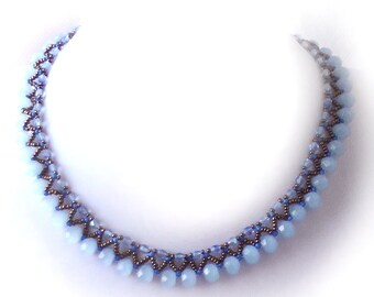 Crystal Necklace, Crystal Weaved Necklace, Beadweaved Necklace, Blue Necklace, Beadwork Necklace