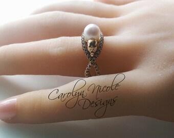 Pearl Skull Engagement Ring