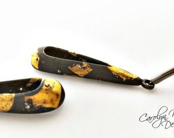 Black and Gold Keum Boo Dangle Earrings