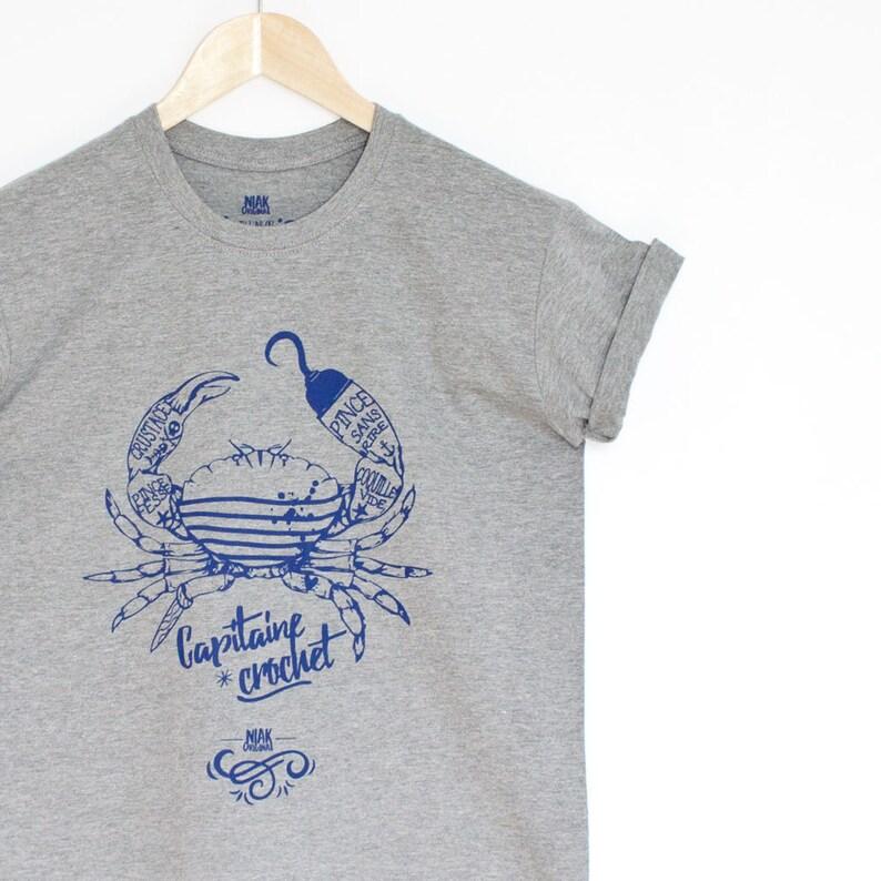 T-shirt homme gris chiné sérigraphie bleu crabe marin  f617a881466