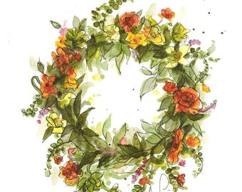 Summer Wreath (original watercolor)