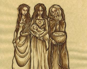 Maiden, Mother, Crone (Original ink)