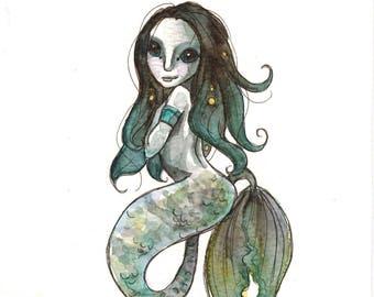 Coralie the Mermaid (original watercolor)