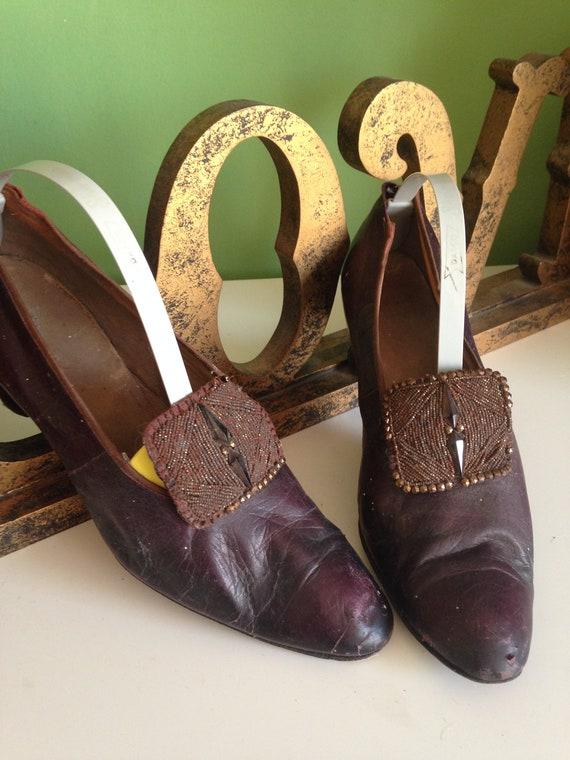 Antique Edwardian shoes, Vintage 1920s leather sho