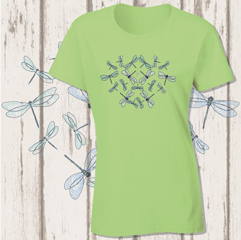 Dragonfly Heart Embroidery T-Shirt image 0