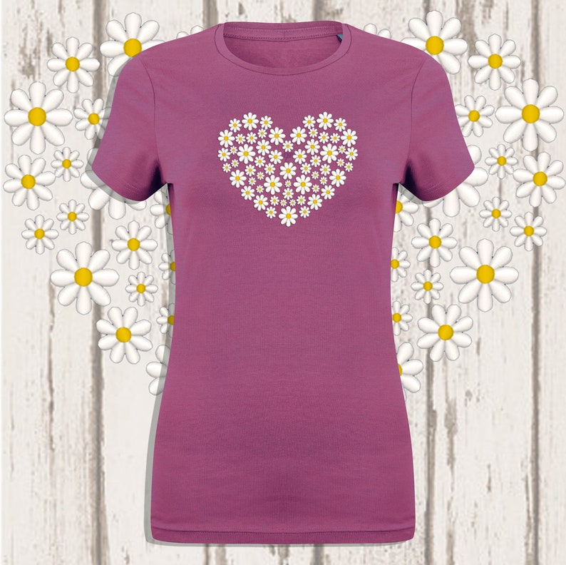 Daisy Embroidered T-shirt Dusky Pink