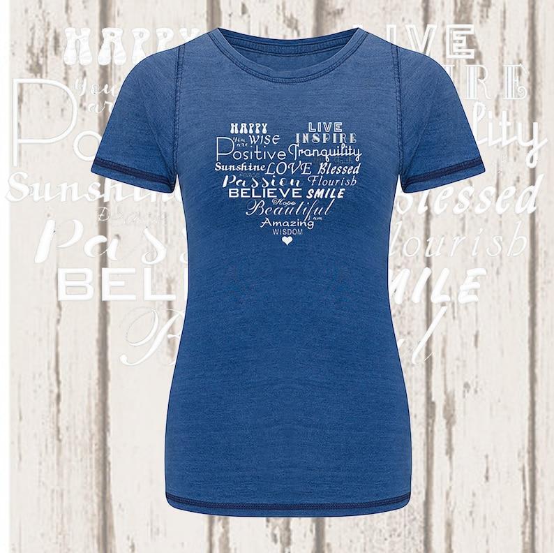 Heart Words Denim T-Shirt Blue Denim