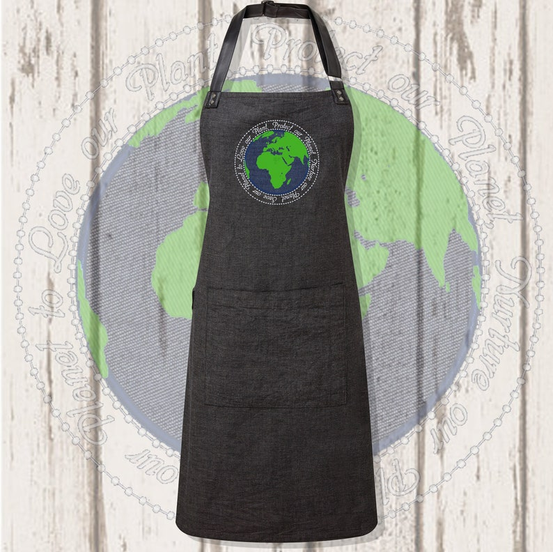 World appliqué and embroidered Apron Black